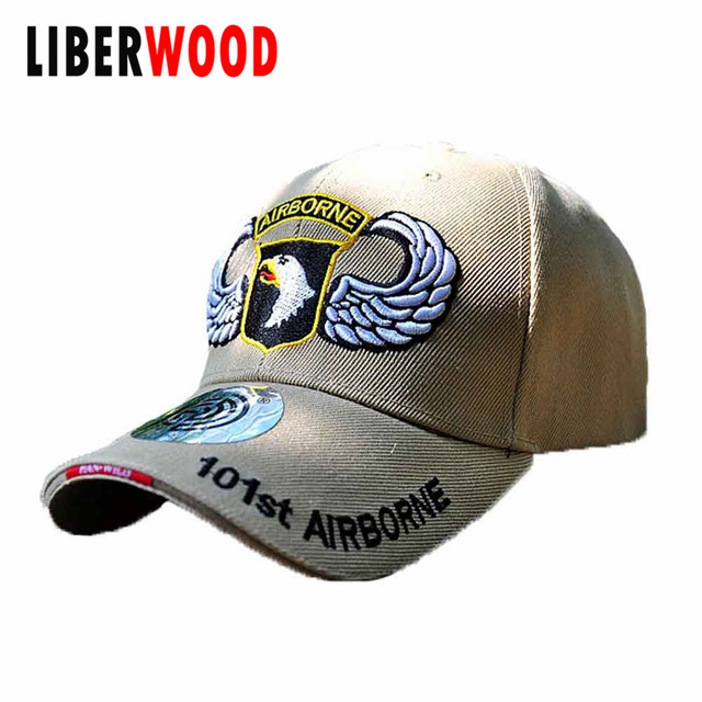 e2675b2edf20a US $6.85 |101st Airborne HAT Division Insignia Eagle Mens Cap AIRBORNE  FORCE ARMY VETERAN Cap Hat with Shadow Military Style-in Military Hats from  ...