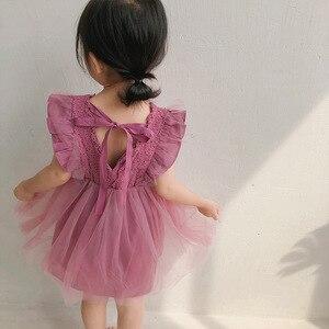 Image 2 - 2019 קיץ חדש הגעה קוריאנית גרסה כותנה טהור צבע כל התאמה נסיכת תחרה אפוד בועת שמלת עבור חמוד מתוק תינוק בנות