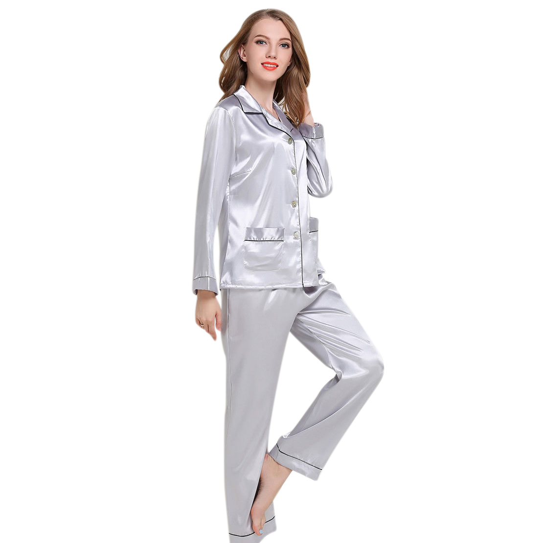 Women's Autumn Silk Long-sleeved Trousers   Pajamas     Set   Turn Down Button Silk Home Wear Elastic Pocket Sleepwear