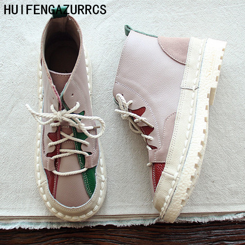 HUIFENGAZURRCS-Pure handmade stamps tie laces women's shoes, Martin  art RETRO boots, breathless soft bottom chic leather boots