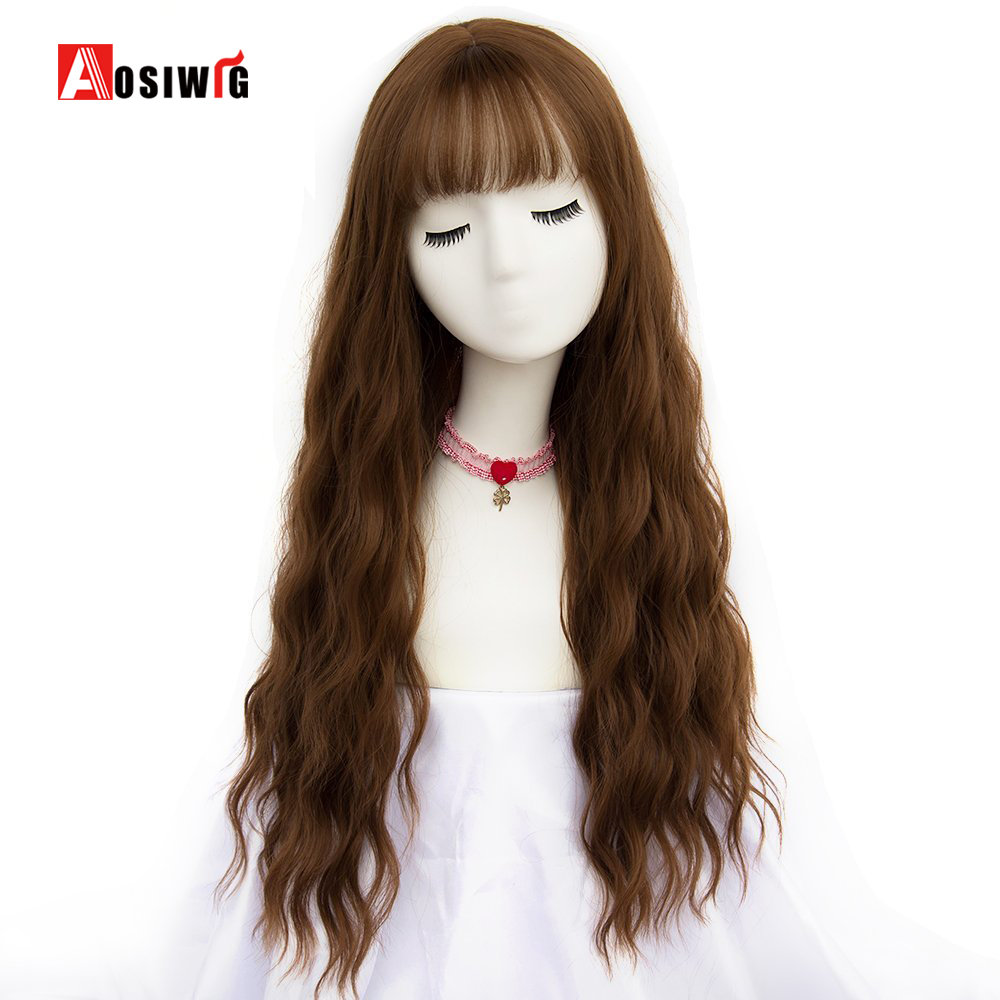 26 Long Brown Women Wigs with Bangs Heat Resistant Synthetic Kinky Curly Wigs for Women African American AOSIWIG ...