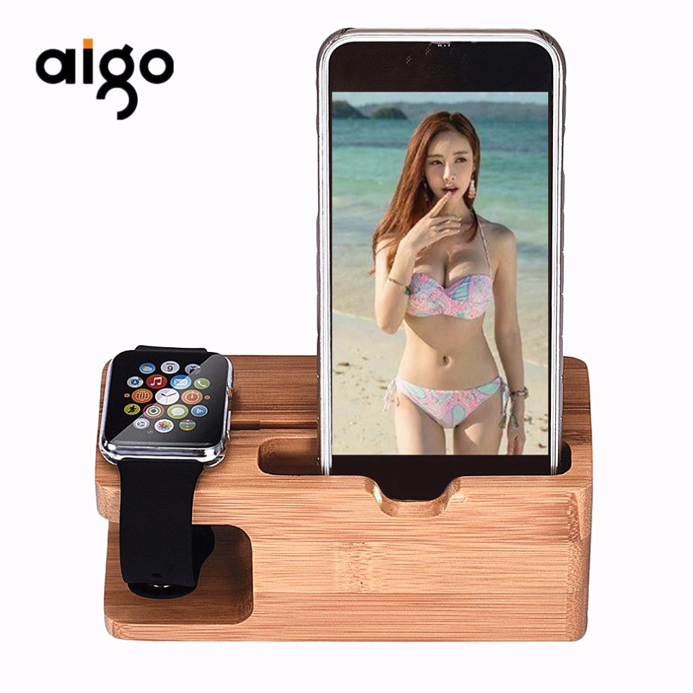 Aigo Bamboo Wood Charging Station Charger Dock Stand Holder For Apple Watch For iPhone For Mobile Phone