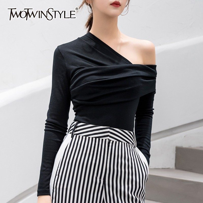 TWOTWINSTYLE Sexy Off Shoulder Asymmetric Women's T-shirts Tops Female Slim Long Sleeve Fashion Black Tshirt Autumn 2020