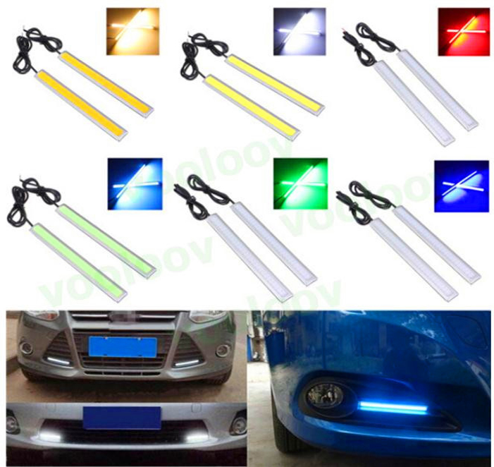 Hot 6w Auto DRL Daytime Driving Running Light waterproof COB Chip LED Car Styling Daylight ,Paking Fog Bar Lamp  17cm 1pc itimo 2pcs led car headlight h3 headlamp auto fog lamp drl cob driving bulb car daytime running light car styling super bright