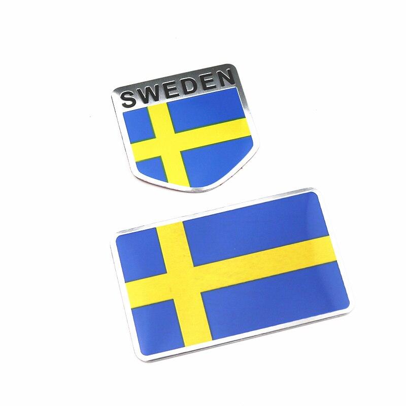 2Pcs Aluminum Sweden Flag Car Styling Sticker Emblem Decal Badge For SE Cars Body Window Door For Volvo V70 XC60 S60 V60 V40