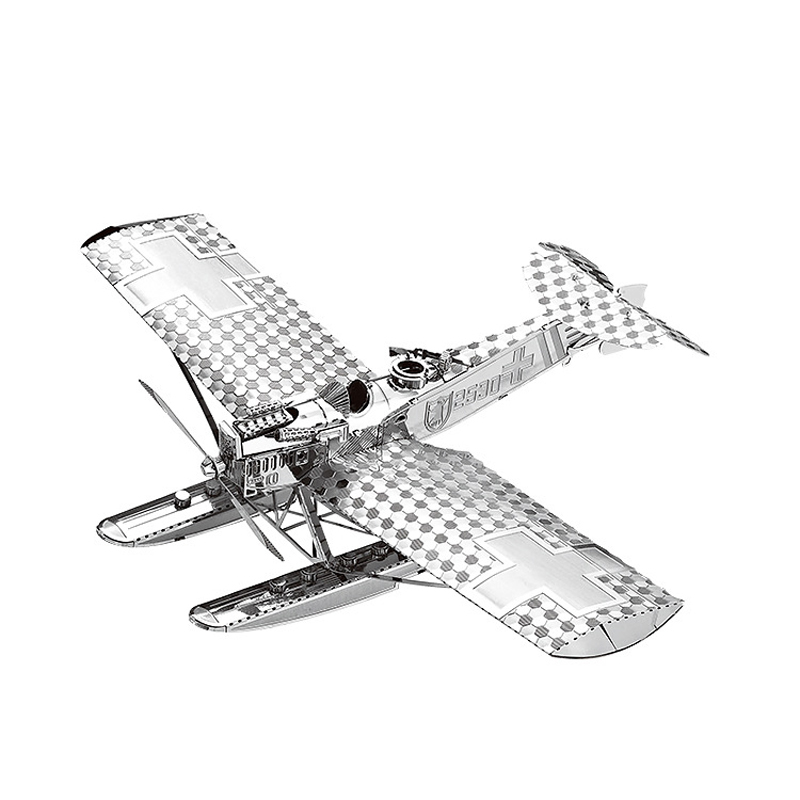 Nan yuan 3D Metal Puzzle Hansa Brandeburg W29 airplane DIY Laser Cut Puzzles Jigsaw Model For Adult Child Kids Educational Toys image