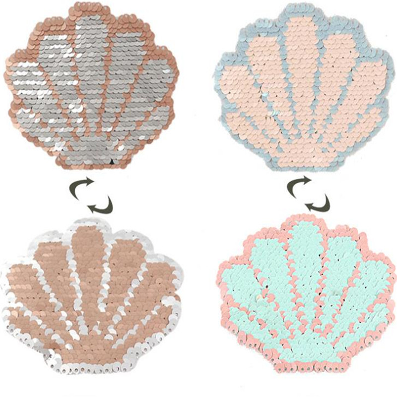 T-shirt Girl Patch 100mm Shell flip double sided Patches for clothing Reversible change color sequins T shirt Stickers