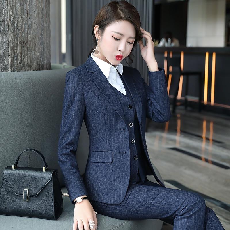 Set Female 2019 Autumn New Temperament Striped Professional Casual Women's Three-piece Suit + Vest + Trousers Elegant Fashion