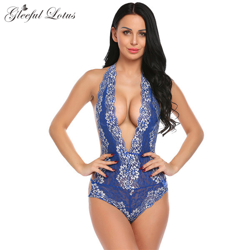 Buy Sexy Lace Hot Erotic Thong Bodysuits Teddies Open Bust Backless Deep V Lenceria Lingerie Women Sexy Babydoll Porn Nightwear