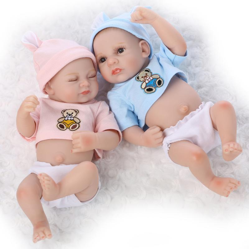 Mini Bebe Reborn 27cm Realistic Soft Silicone Dolls NPK Bonecas Awake boy Baby Alive Doll For Childrend Birthday Gifts