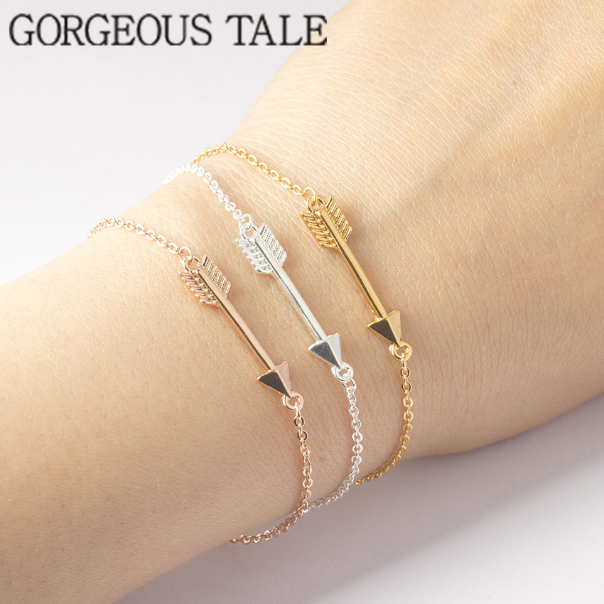 GORGEOUS TALE Classical Design Hand Chain Stainless Steel Bracelets Gold-color Pulseras Mujer Arrow Charm Bracelets For Women