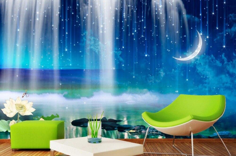 customize 3D HD Waterfall Moon 3d wallpaper muralsSofa bedroom Photo Mural Modern 3d Wallpaper For Living Room Background blue earth cosmic sky zenith living room ceiling murals 3d wallpaper the living room bedroom study paper 3d wallpaper