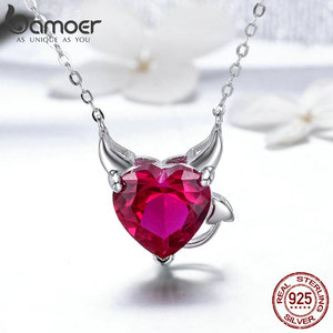 Image 4 - BAMOER Authentic 925 Sterling Silver Red CZ Evil And Angel Pendant Necklace Earrings Jewelry Set Sterling Silver Jewelry ZH067
