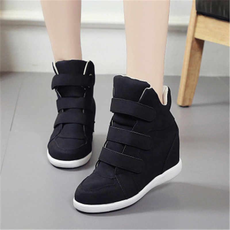 2019 ส้นสูงรองเท้าสุภาพสตรีรองเท้า wedge กับสุภาพสตรีรองเท้าผ้าใบรองเท้าลำลองรองเท้าเพิ่มรองเท้า