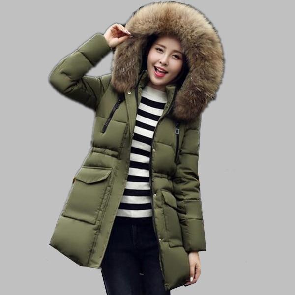245a77ca07f74 Pelo grande de lujo collar invierno chaqueta mujeres gruesas encapuchadas  de la piel de invierno chaquetas para mujer caliente abrigo de algodón  acolchado ...