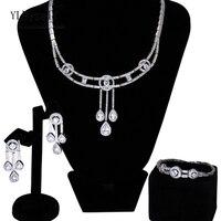 Last sale Luxury big party 3pcs jewellery sets White cz crystal Necklace+Bracelet+earrings Large jewelry set for women