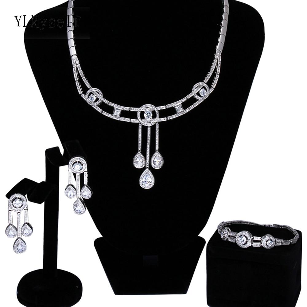 Last sale Luxury big party 3pcs jewellery sets White cz crystal Necklace+Bracelet+earrings Large jewelry set for womenLast sale Luxury big party 3pcs jewellery sets White cz crystal Necklace+Bracelet+earrings Large jewelry set for women
