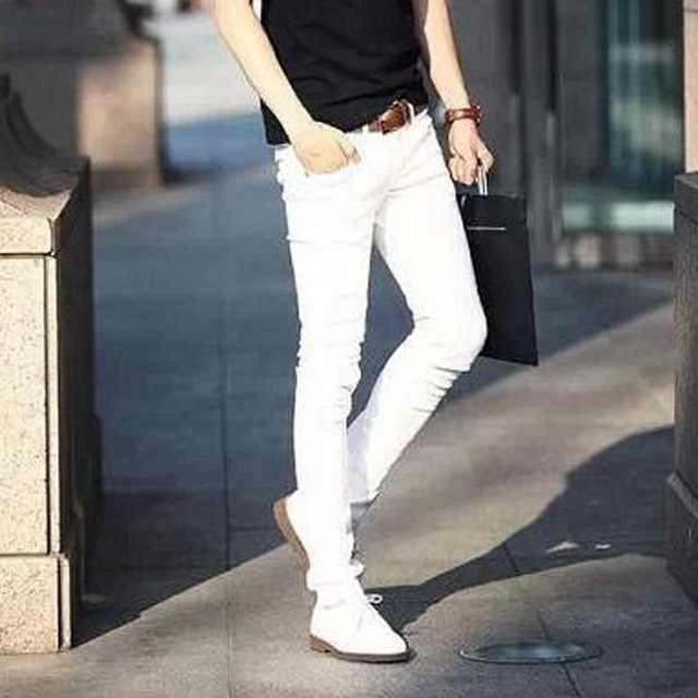5e05558e72 ... NEW 2019 indoor Solid Casual white boys hip hop jeans men teenager  pencil pants skinny students