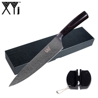 XYj Brand Cooking Tools Mini Knife Sharpener Color Wood Handle Sharp Stainless Steel Kitchen Knife Black