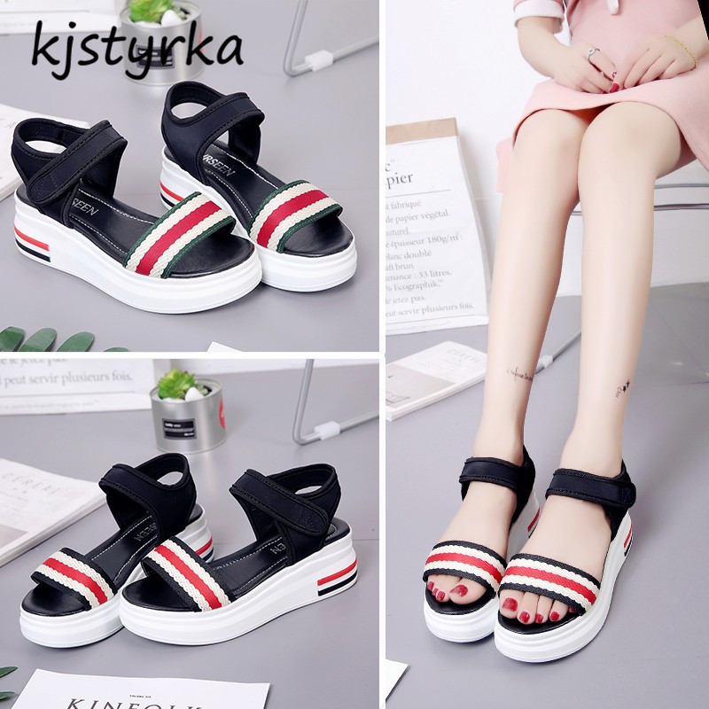 Kjstyrka 2018 Fashion Women Shoes sandalia feminina Summer Sandals flats thick bott Damp ...