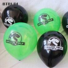 BTRUDI 10pcs Dinosaur Print Latex Balloon 10inch black and green  birthday party decorations kids baby shower boys Helium ball