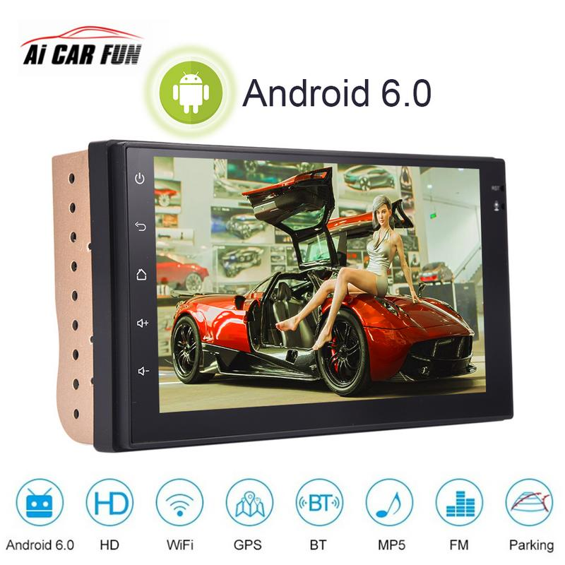 7 Inch Universal Smart Android 6.0 System 2Din Car Stereo AM FM Radio WIFI Bluetooth Call Multimedia Player GPS Navigator