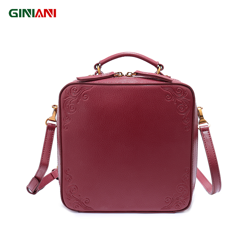 GINIANI Female Real Top Leather Retro Trunk Shoulder Bag Female Vintage Flower Stamp Square Flap Crossbody