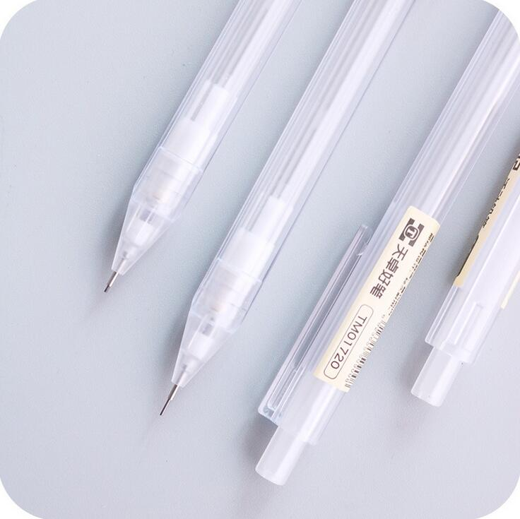 0.5 mm Simple Transparent Plastic Mechanical Pencil Automatic Pen For Kid School Office Supply