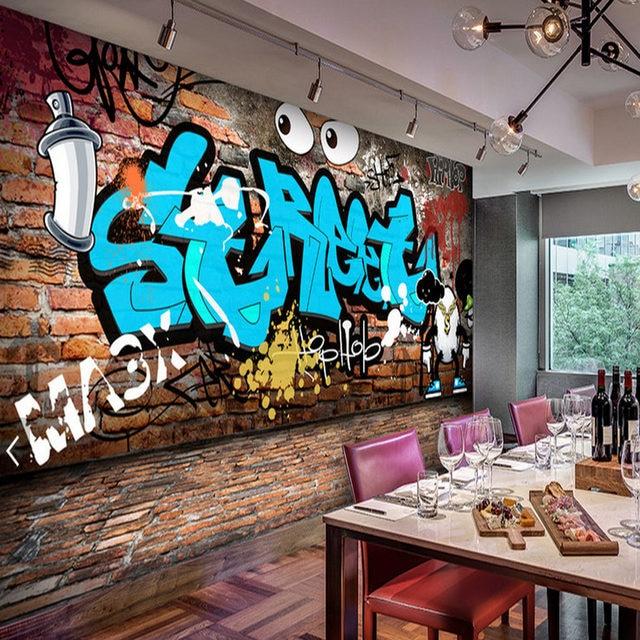 Online Shop Restaurant Tapeten Graffiti Foto Wandbild 3d Ziegel