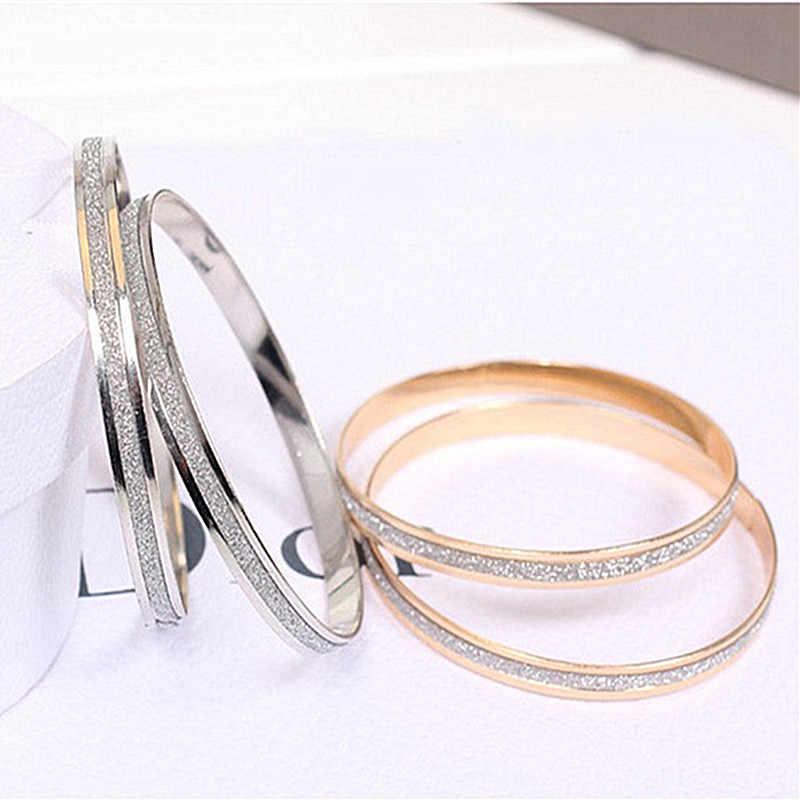 Hot Sale Trendy Crystal Bracelets for Women Silver Gold Strand Bracelets Stainless Steel Bangles Jewelry