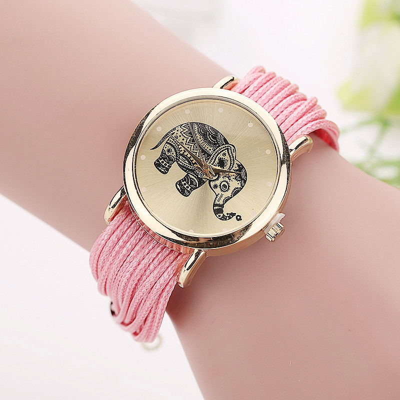 Women Leather Bracelet Fashion Casual Elephant Wrist Watches 4