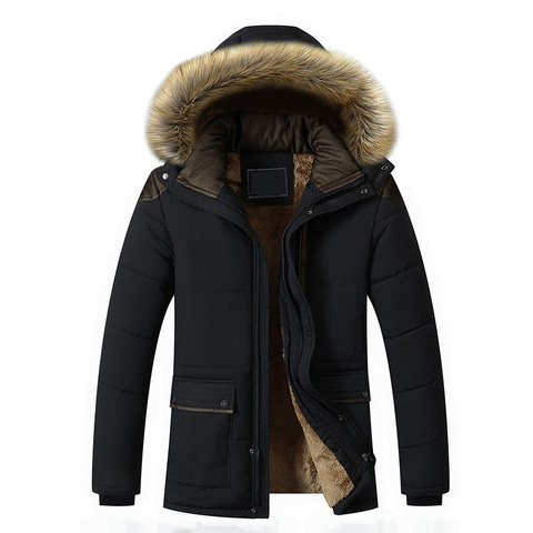 Plus Size M-5XL Casual Warm Parkas Men Fur Collar Hooded Men Winter Jacket Wool Liner Windproof Parkas Outwear Hombre Invierno Lahore