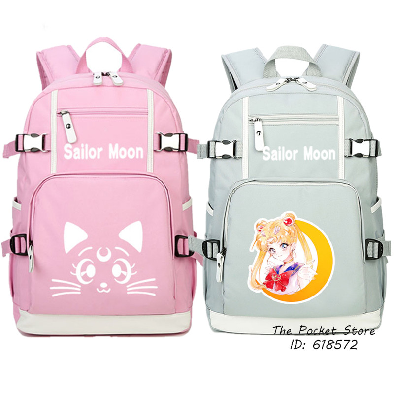 Sailor Moon Women Backpack Kawaii School Bags Luna Cat Cute Travel Backpack Mochila Feminina Canvas Laptop Backpack Pink Bookbag