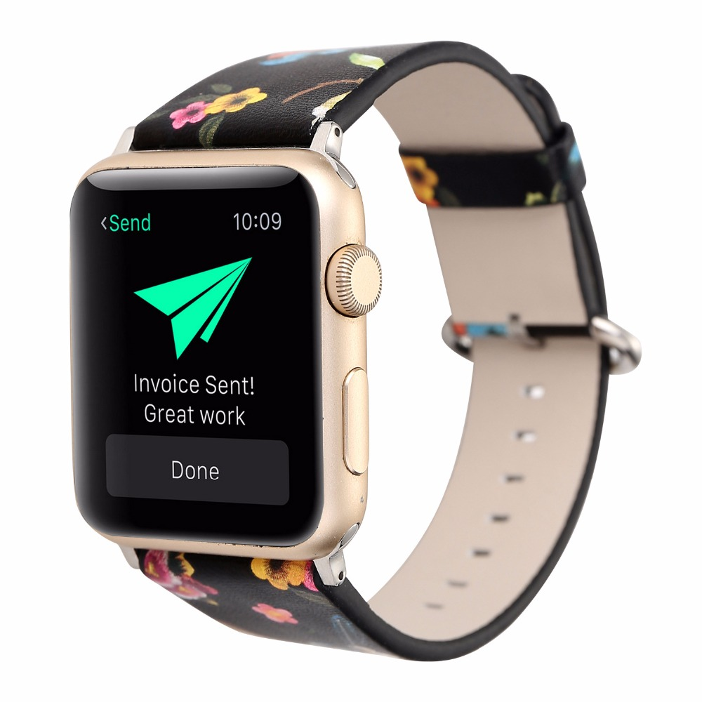 38/42mm Apple Watch Band Genuine Leather iwatch Strap Replacement Band with Stainless Metal Clasp for Apple Watch 3 Women Black 38 42