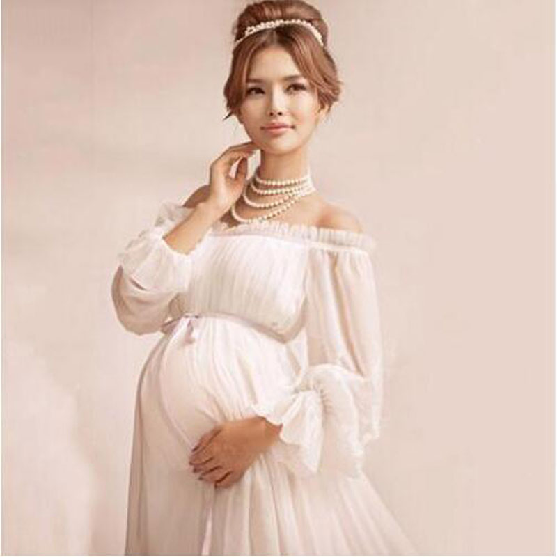 Maternity Clothes Photo Chiffon Solid Dresses White Full Ankle Length Best Quality Craftsmanship Suitable Any Size In From Mother Kids On