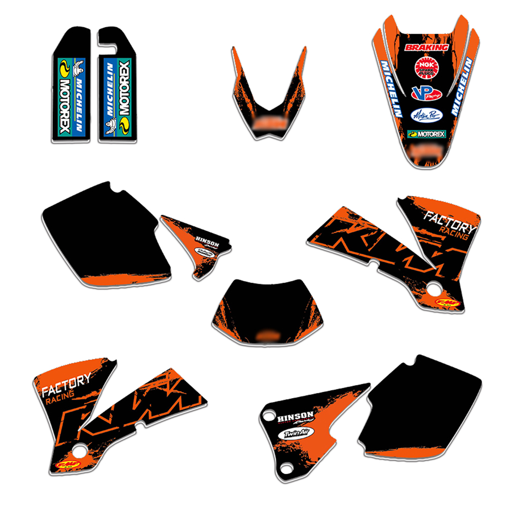 TEAM GRAPHICS & BACKGROUNDS DECALS <font><b>STICKERS</b></font> FOR <font><b>KTM</b></font> EXC 125 200 250 300 400 <font><b>450</b></font> 525 2003 image