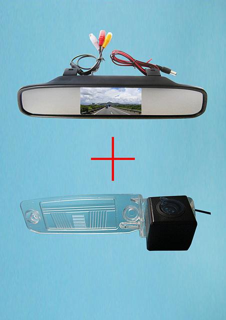Ccd de visão traseira do carro para KIA SPORTAGE R 2010 - 4.3 polegada espelho retrovisor Monitor