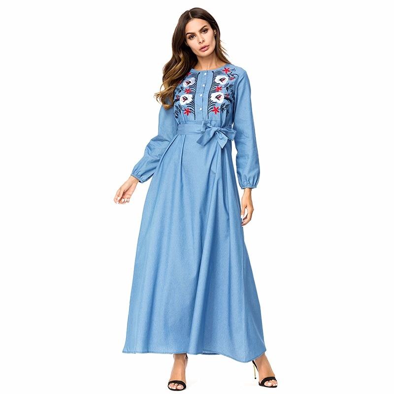 a507e7cb6e5 Bandage musulman longue Robe en Denim fleurs broderie turquie caftan turc  vêtements islamiques grande taille Robe