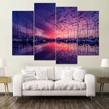 Sky Landscape Marina Ship reflection Painting 4 Piece Style Picture High Quality Canvas Print Type Decor Wall Artwork Poster 5 piece blue sky nature rocks road landscape picture top rated canvas print type wall decor valley of fire state park poster