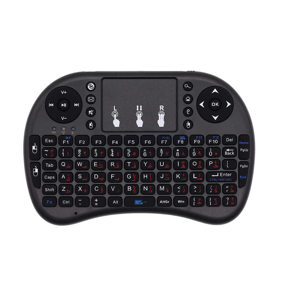 I8 Arabisch Engels Versie i8 + 2.4 GHz Mini Wireless Keyboard Air Mouse TouchPad voor Android TV Box/Mini PC/Laptop