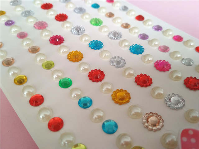 add270c601 Happyxuan 4 Sheets Crystal Diamond Pearl Stickers for Scrapbooking  Rhinestone Self Adhesive Strips DIY Creative Craft Material