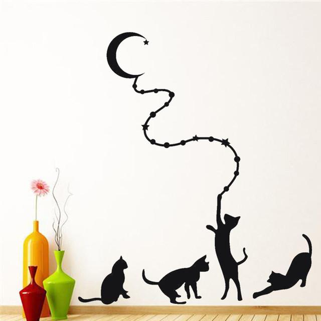 Black Cat Moon Wall Sticker