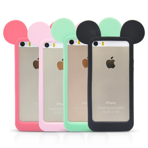 5517e5559c1 Black 3D Mickey mouse ears silicon frame bumper for iPhone 7 iPhone 6 5 5S  case soft Rubber lovely cartoon phone cases cover