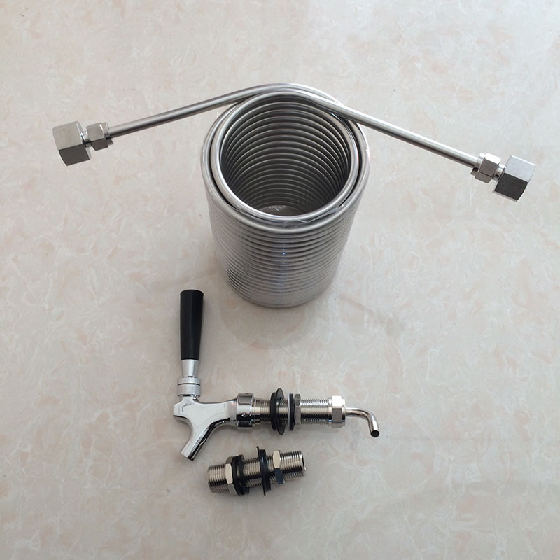 Beer Brewing cooling coil food grade 304 stainless steel material with long shank beer tap faucet