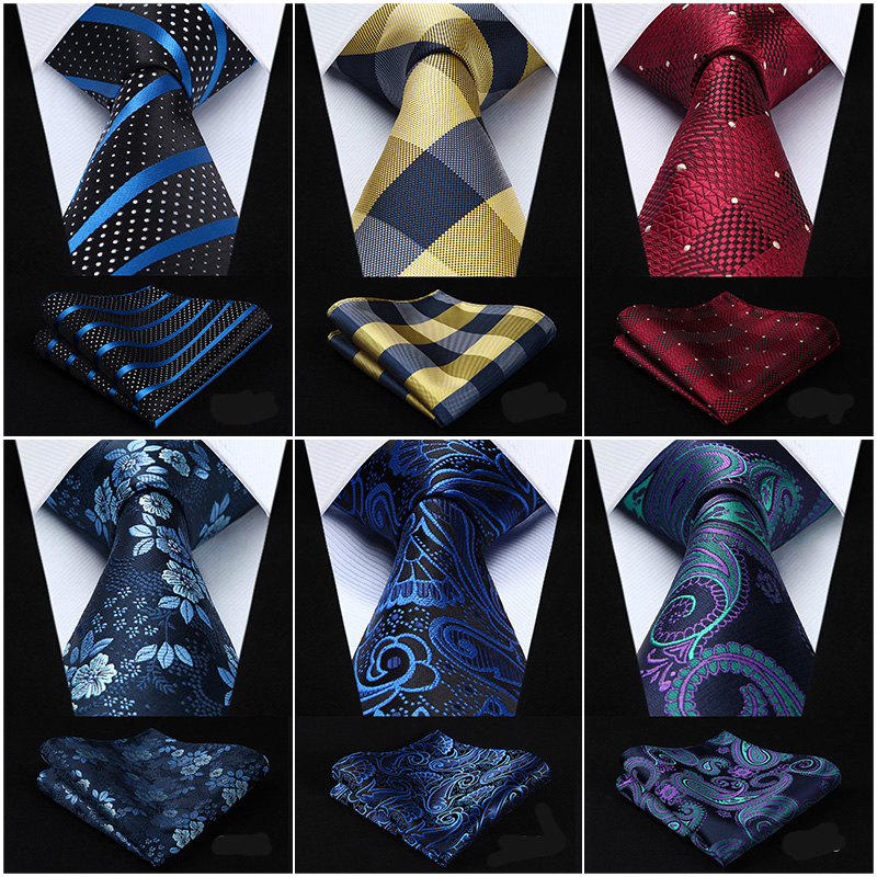 Check 3.4 Silk Fashion Mens Extra Long Tie Necktie Handkerchief Set #G1 Pocket Square Classic Party Wedding