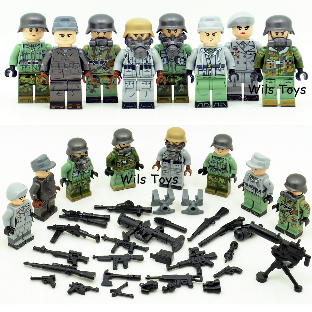 8pcs Army MILITARY Special Forces Soldiers WW2 SWAT Model DIY Building Blocks Brick Figures Educational Toys Gifts Boys Children