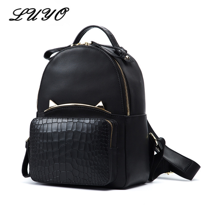 LUYO New Genuine Leather Women School Cat Backpack Female Mochila Feminina Bagpack Teenage Backpacks For Girls Sac A Dos Femme luyo brand crocodile alligator genuine leather female fashion vintage cool backpack mochila feminina sac a dos womens youth