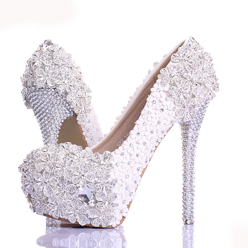 Spring White Lace Flower Rhinestone Wedding Shoes 2017 Newest Design Luxury Handmade High Heel Bridal Shoes Evening Prom Pumps lavender bride shoes high heel platform shoes with lace flower rhinestone wedding shoes spring women pumps for prom event