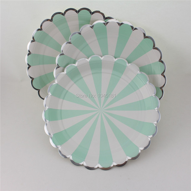 112pcs Striped Round Dinner Paper Plates Red Mint with Silver Edge Wedding Craft Food Tray for & 112pcs Striped Round Dinner Paper Plates Red Mint with Silver Edge ...
