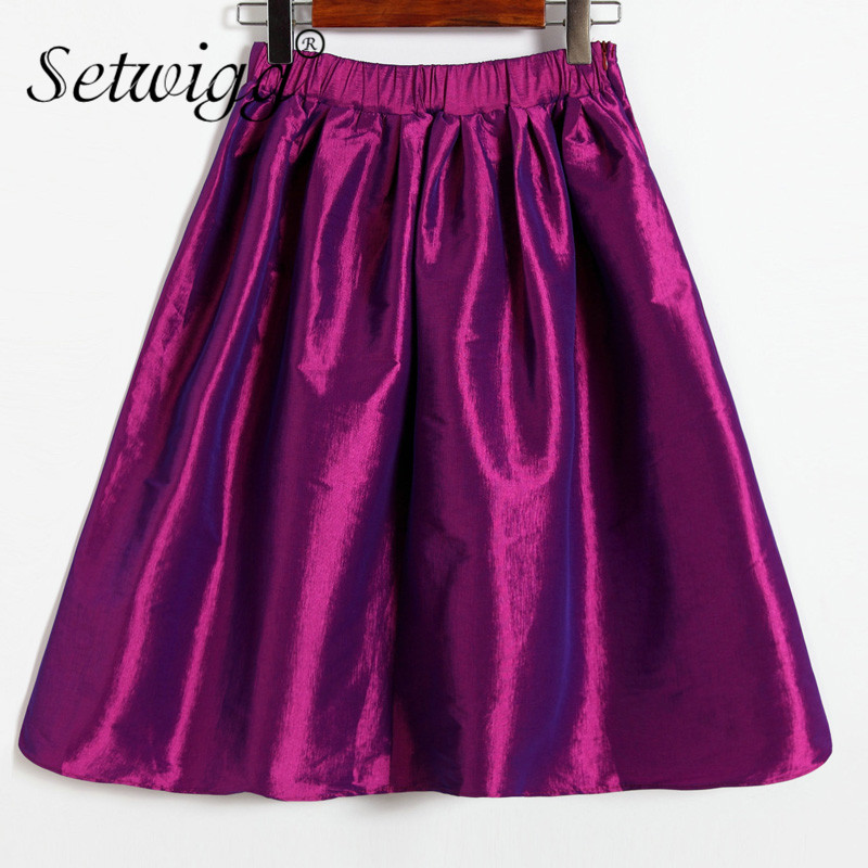 SETWIGG Womens Vintage Shine Super Puffy Pleated Midi Skirt ...
